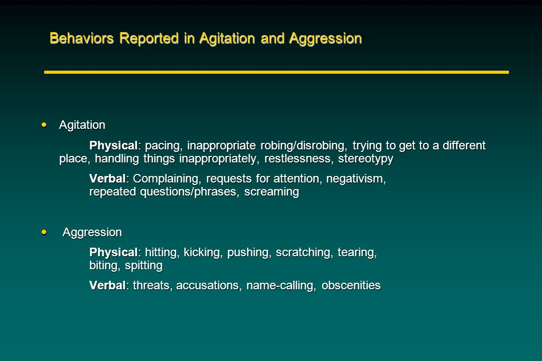 Behaviors Reported in Agitation and Aggression