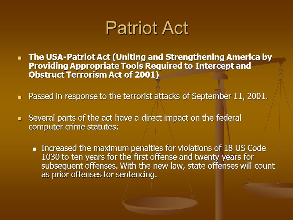 the issues within the patriot act after the september 11 attacks Which has continued to evolve significantly since the september 11, 2001 terror attacks on us radicalized and become hves within the us and aspire to attack our nation from within charged by superseding indictment for committing an act of terrorism transcending national.