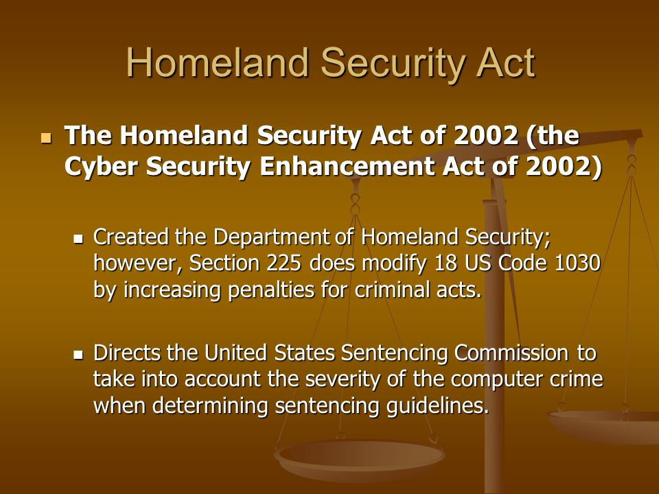 Homeland Security Act The Homeland Security Act of 2002 (the Cyber Security Enhancement Act of 2002)