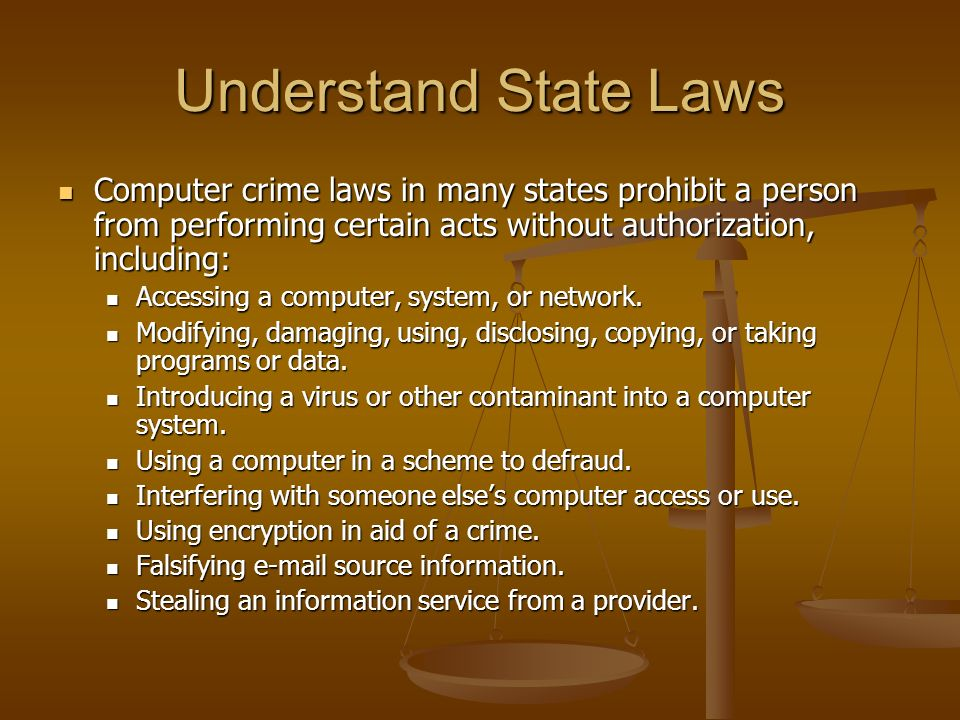 Understand State Laws Computer crime laws in many states prohibit a person from performing certain acts without authorization, including: