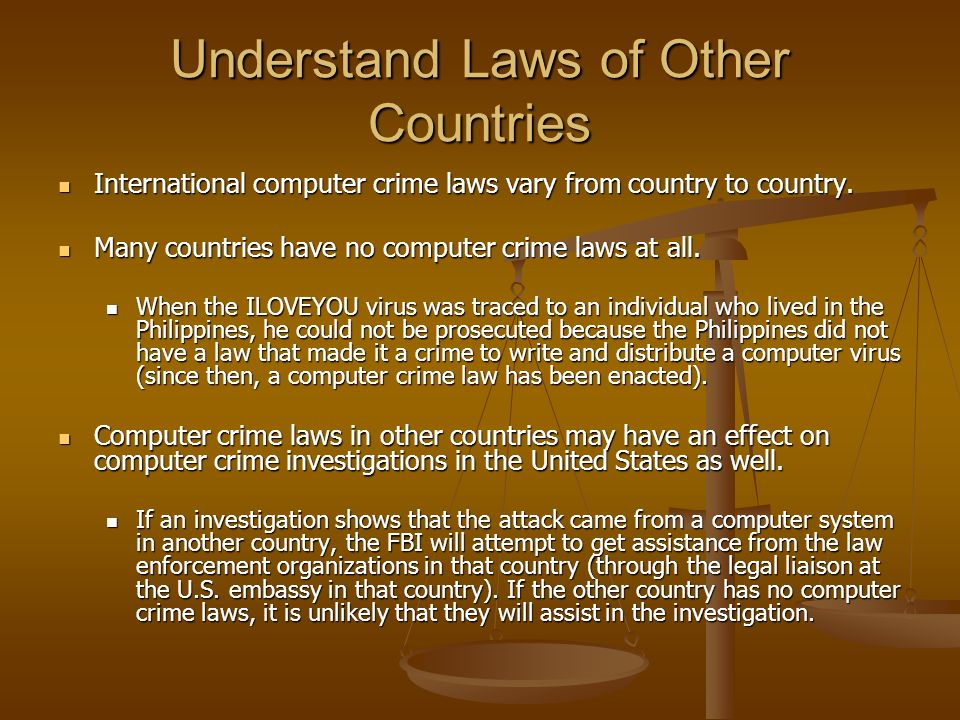 Understand Laws of Other Countries