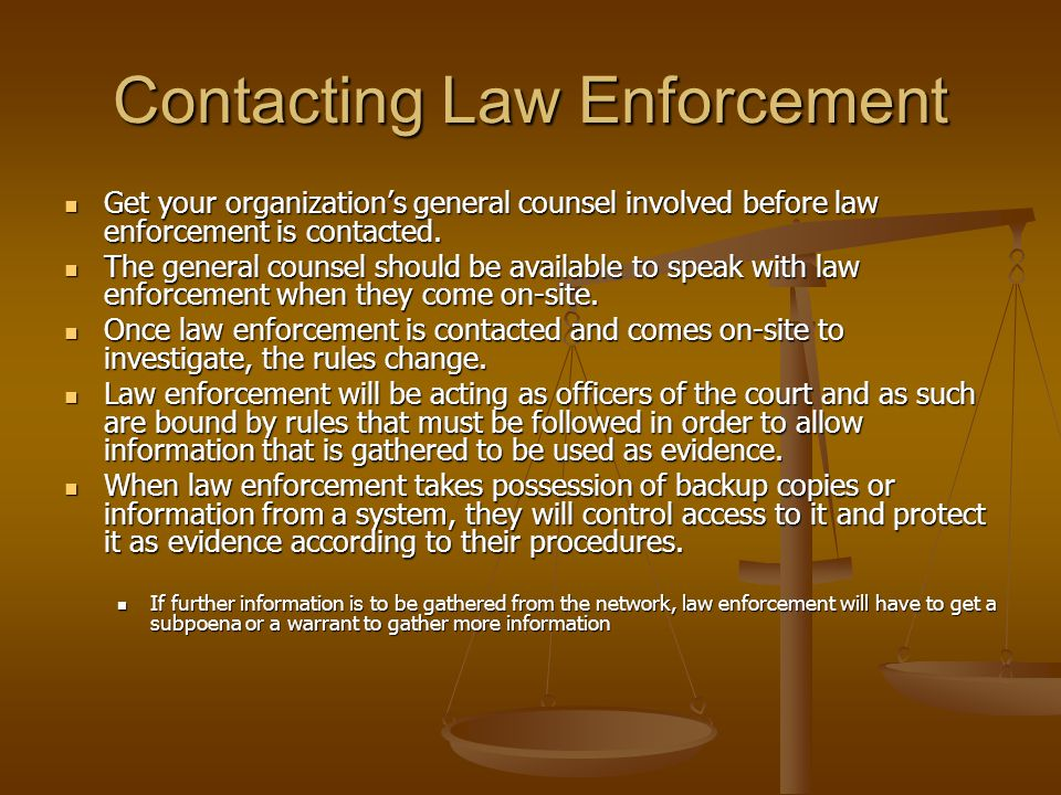 Contacting Law Enforcement