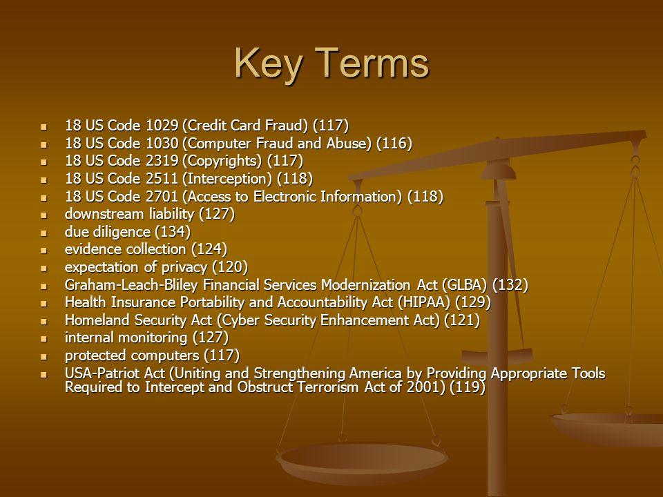 Key Terms 18 US Code 1029 (Credit Card Fraud) (117)