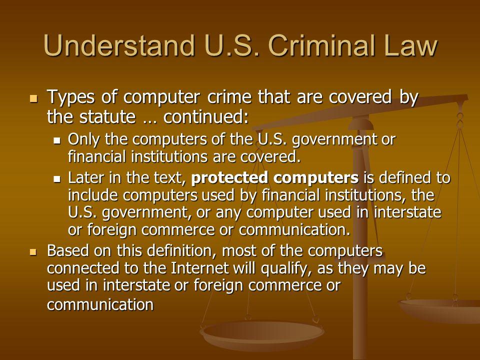Understand U.S. Criminal Law