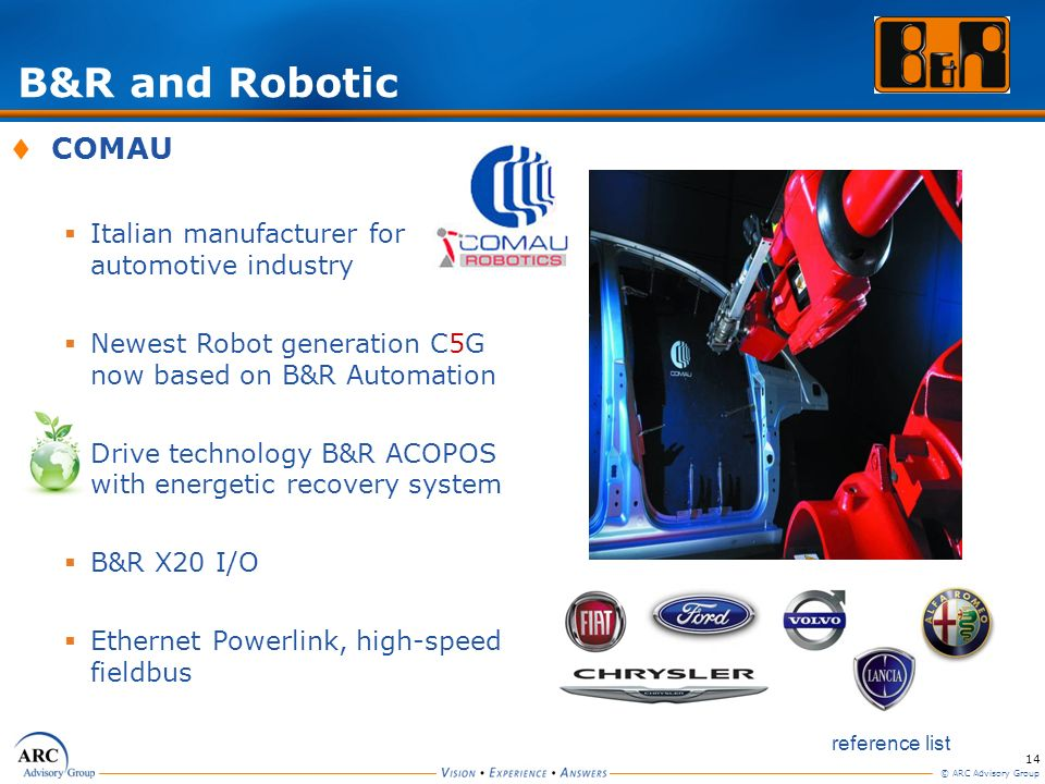 B&R and Robotic COMAU Italian manufacturer for automotive industry