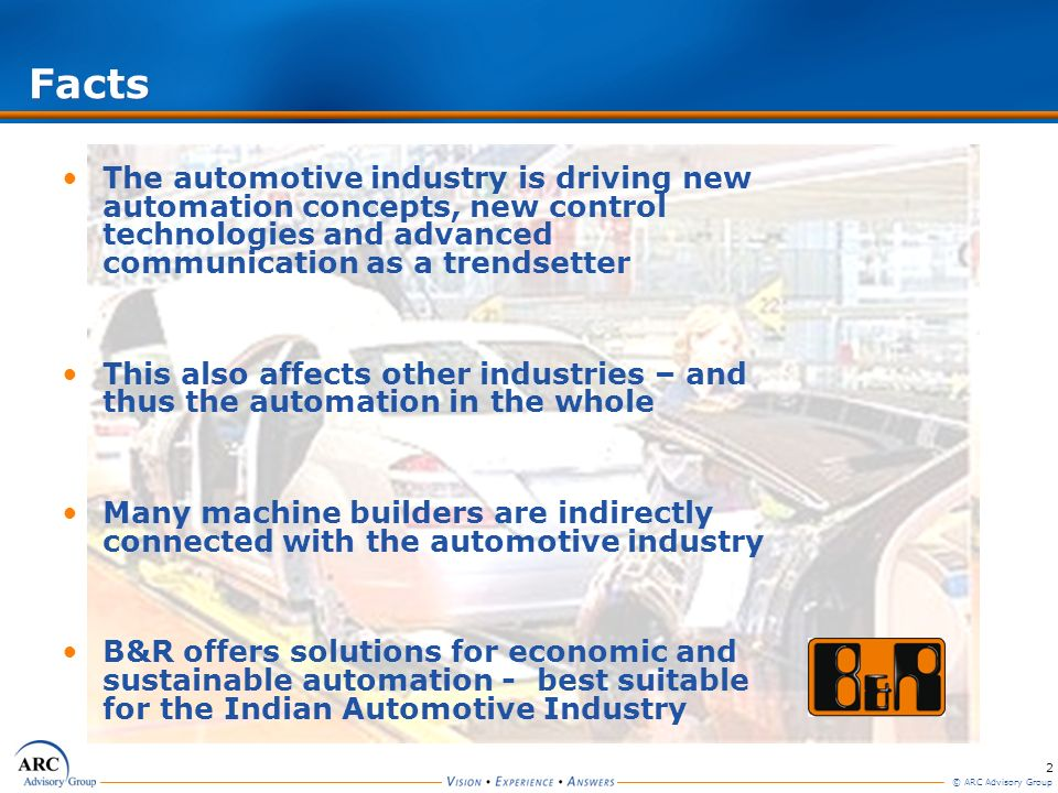 Facts The automotive industry is driving new automation concepts, new control technologies and advanced communication as a trendsetter.
