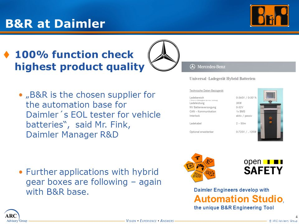 B&R at Daimler 100% function check highest product quality