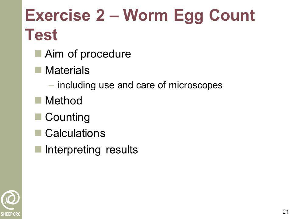 Exercise 2 – Worm Egg Count Test
