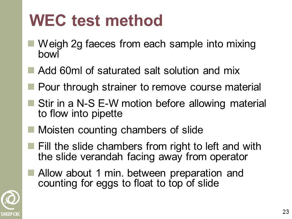 WEC test method Weigh 2g faeces from each sample into mixing bowl