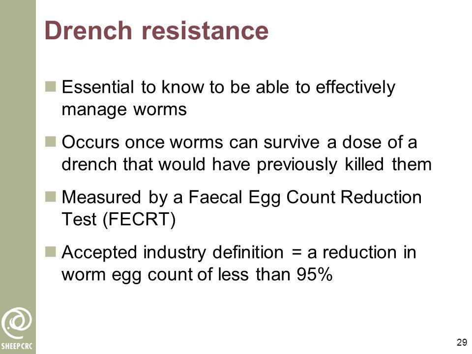 Drench resistance Essential to know to be able to effectively manage worms.