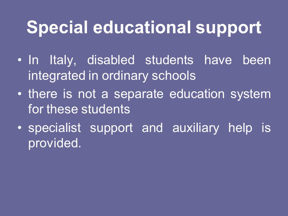 Special educational support