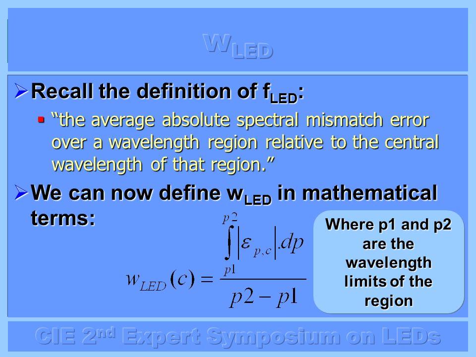 Where p1 and p2 are the wavelength limits of the region