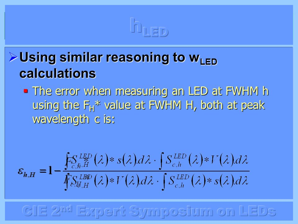 hLED Using similar reasoning to wLED calculations