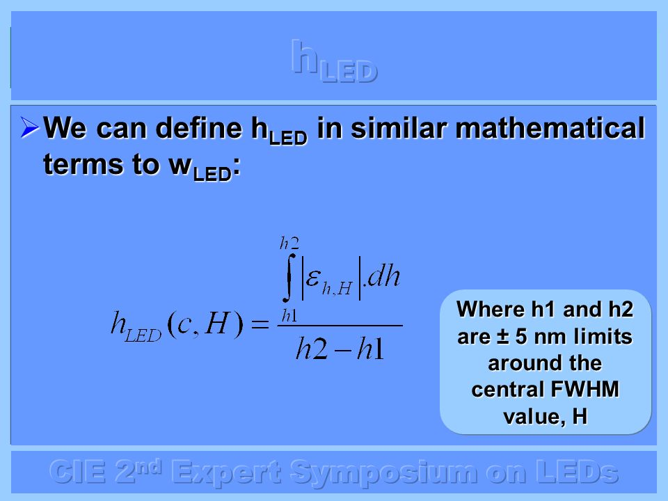 Where h1 and h2 are ± 5 nm limits around the central FWHM value, H