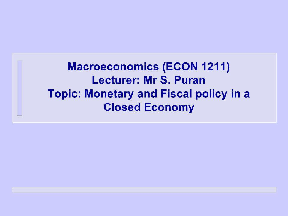 Macroeconomics (ECON 1211) Lecturer: Mr S