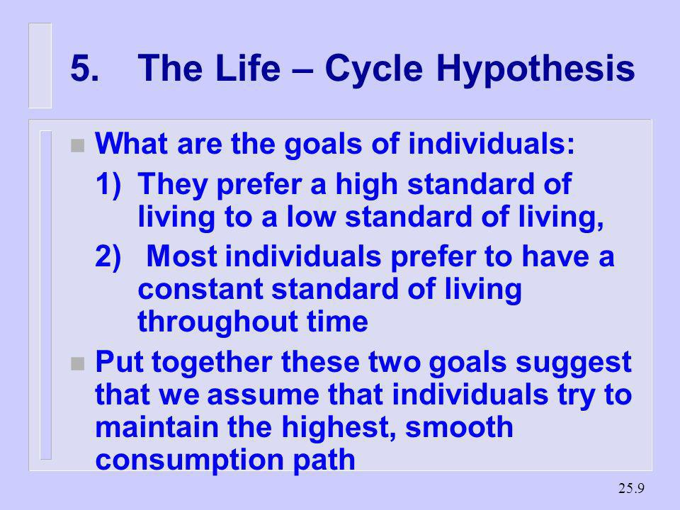 5. The Life – Cycle Hypothesis
