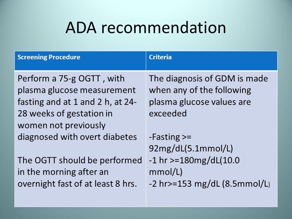 ADA recommendation Screening Procedure. Criteria.