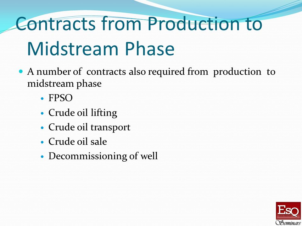 Contracts from Production to Midstream Phase