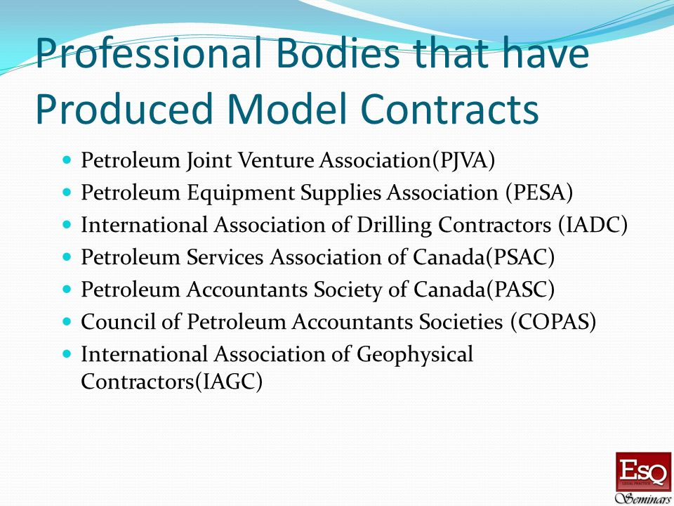 Professional Bodies that have Produced Model Contracts