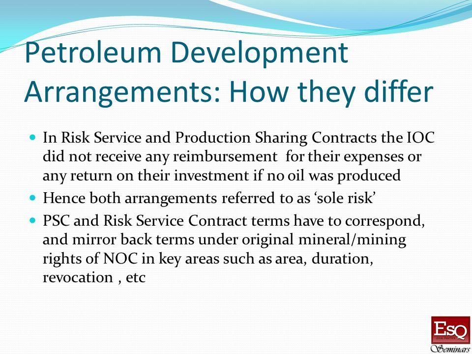 Petroleum Development Arrangements: How they differ