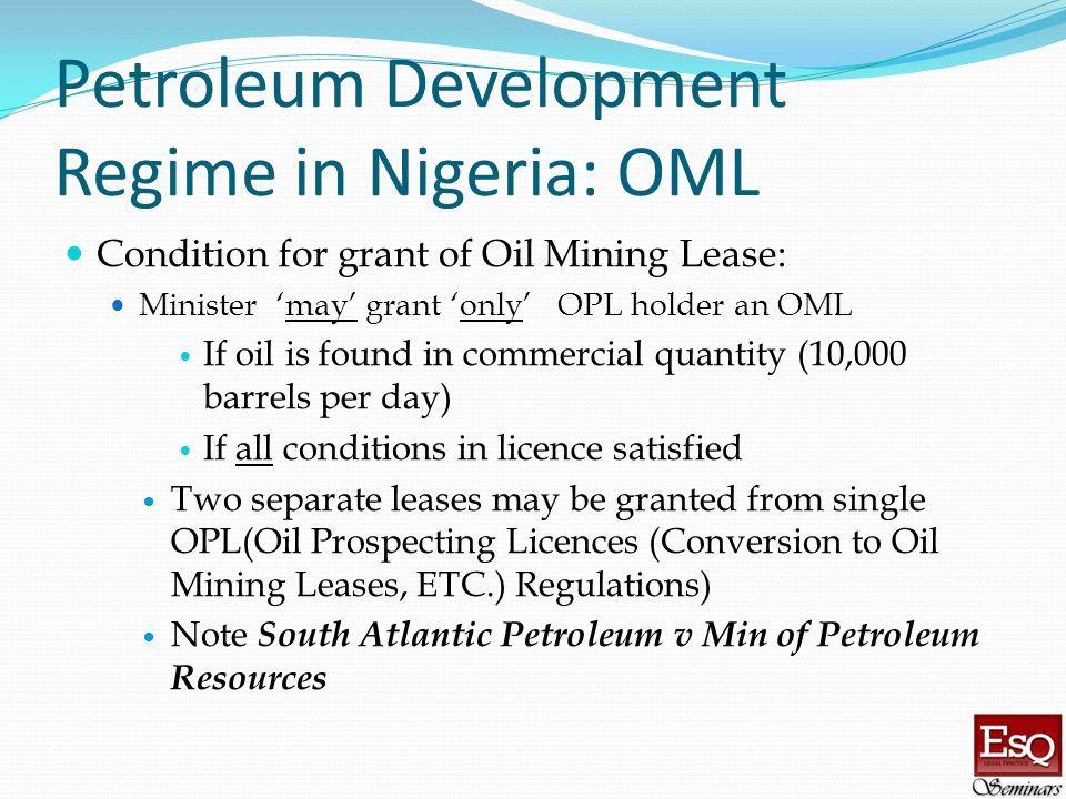 Petroleum Development Regime in Nigeria: OML
