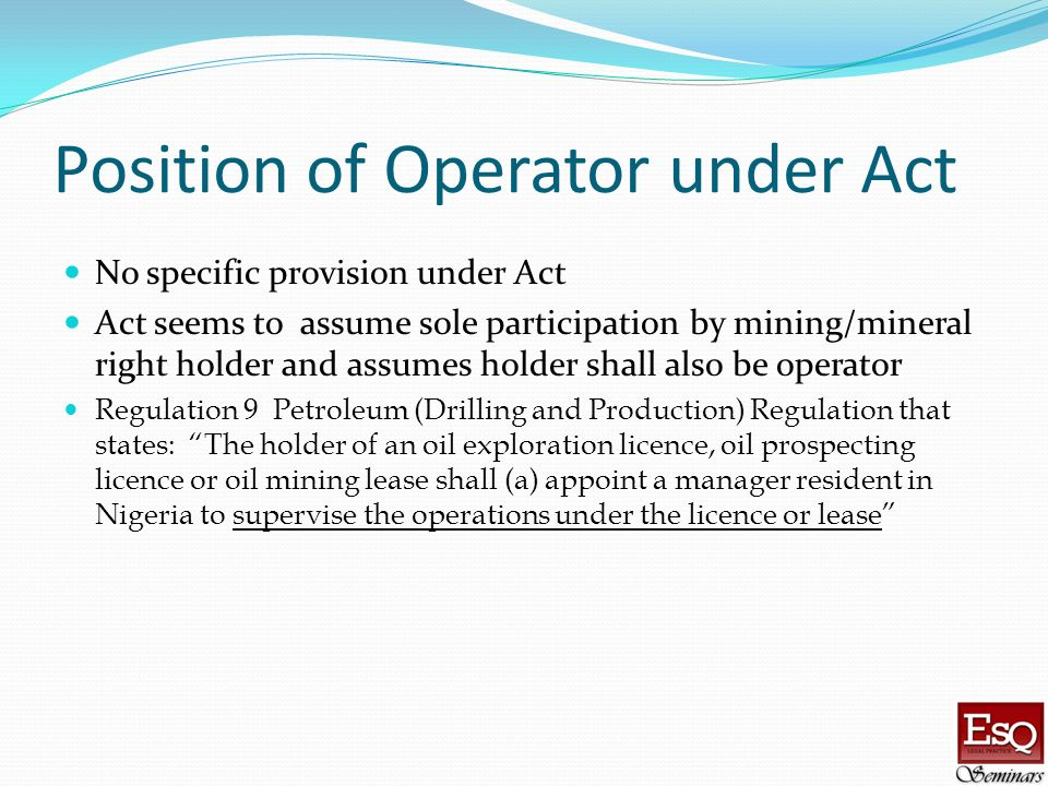 Position of Operator under Act