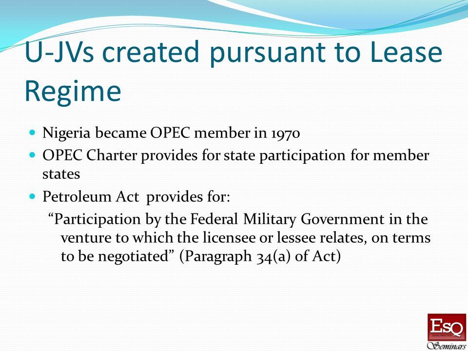U-JVs created pursuant to Lease Regime