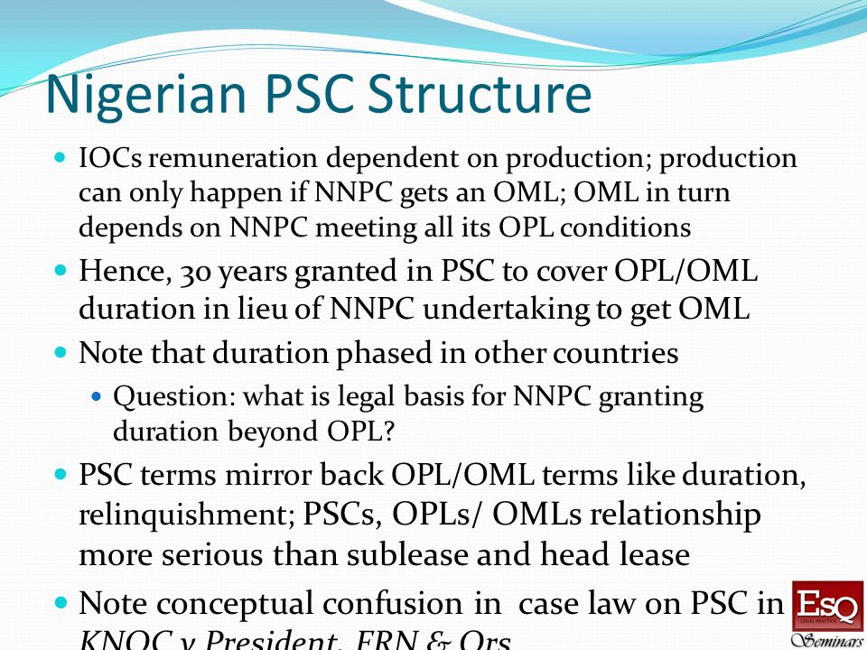 Nigerian PSC Structure