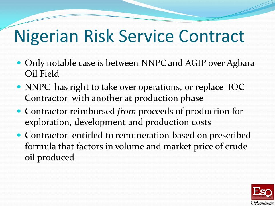 Nigerian Risk Service Contract