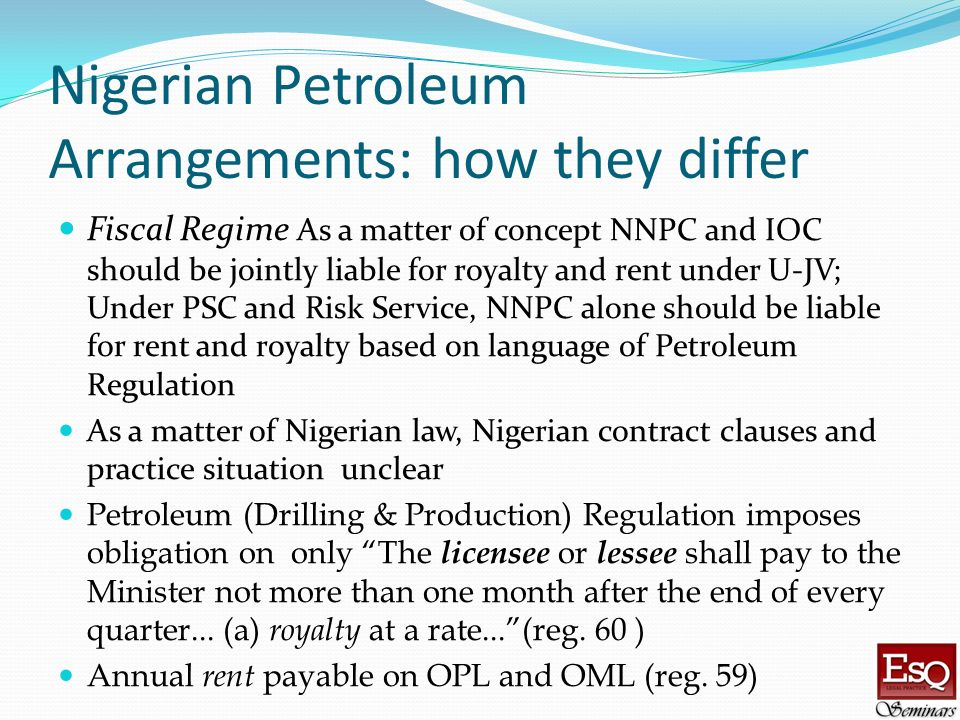 Nigerian Petroleum Arrangements: how they differ