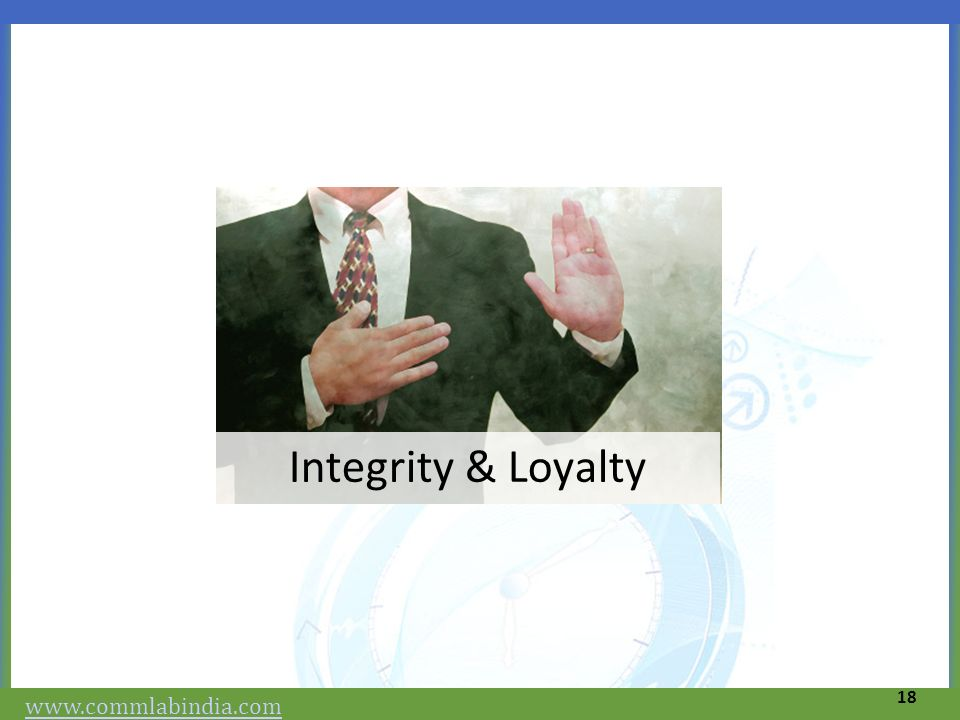 Integrity & Loyalty www.commlabindia.com 18