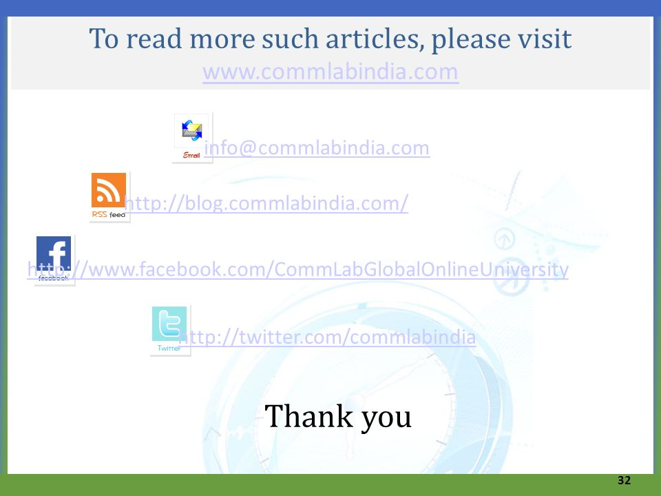 To read more such articles, please visit www.commlabindia.com