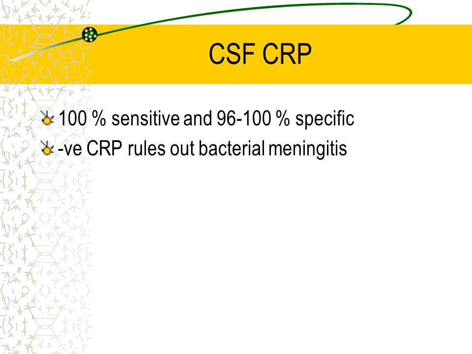 CSF CRP 100 % sensitive and 96-100 % specific
