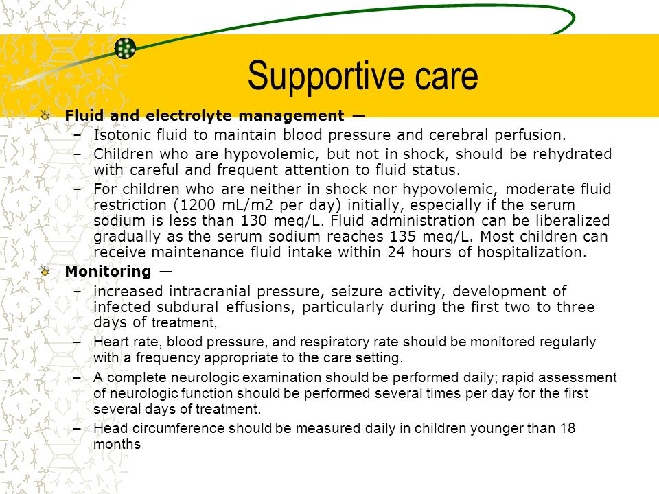 Supportive care Fluid and electrolyte management —