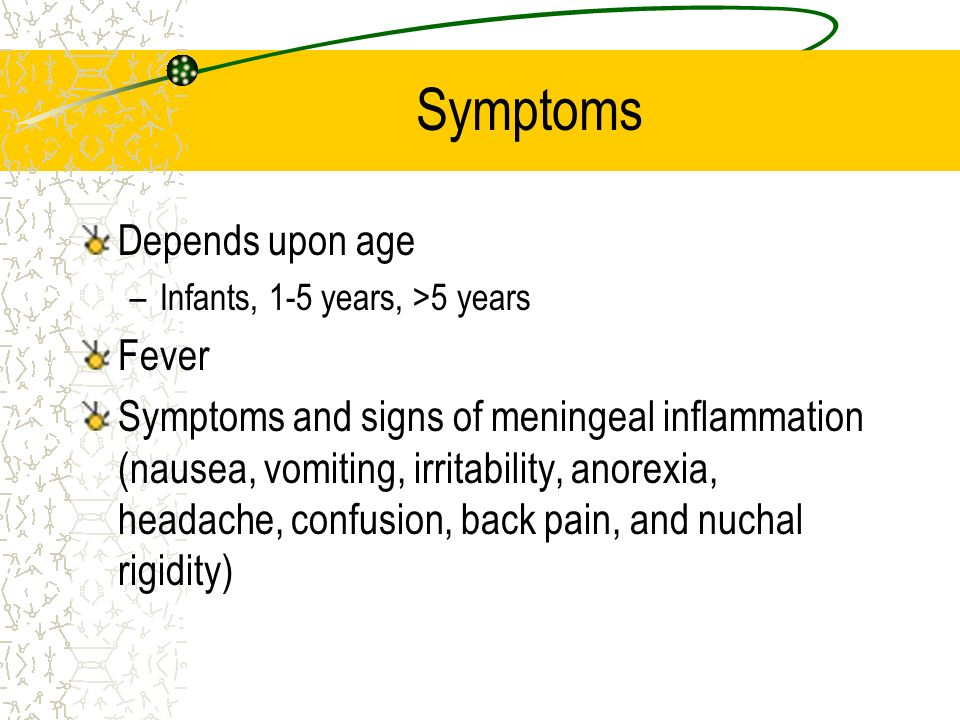 Symptoms Depends upon age Fever