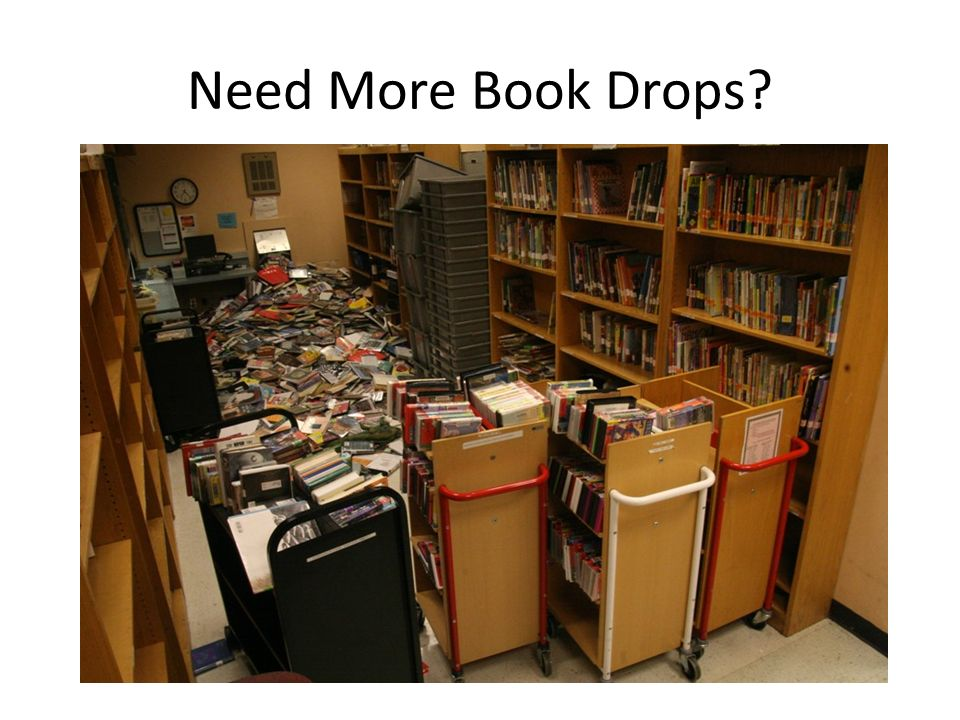 Need More Book Drops Book drops inside the library are limited – max capacity is 500 or so items, then what