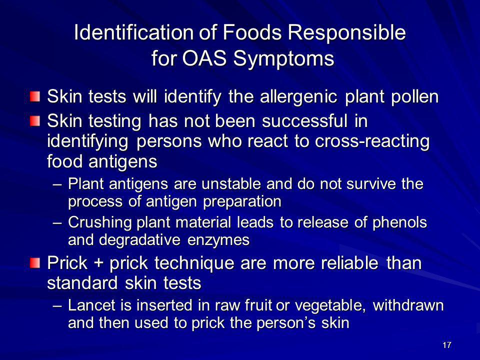 Identification of Foods Responsible for OAS Symptoms