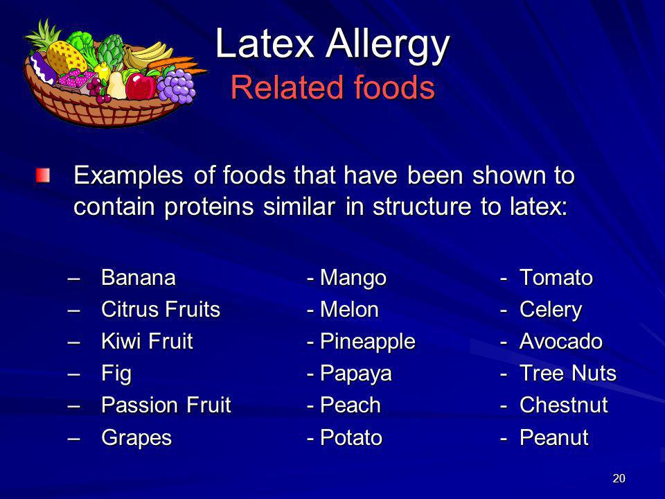 Latex Allergy Related foods