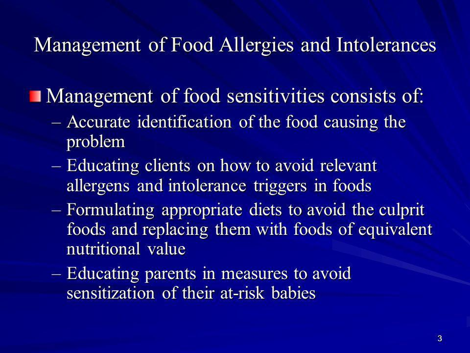Management of Food Allergies and Intolerances