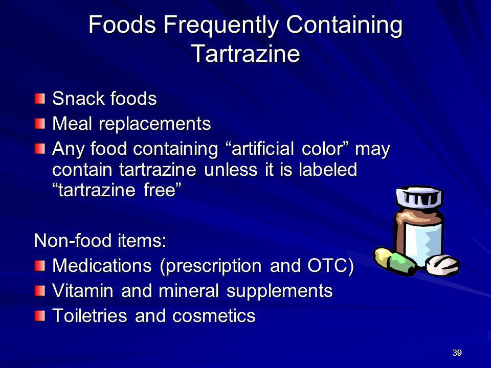 Foods Frequently Containing Tartrazine