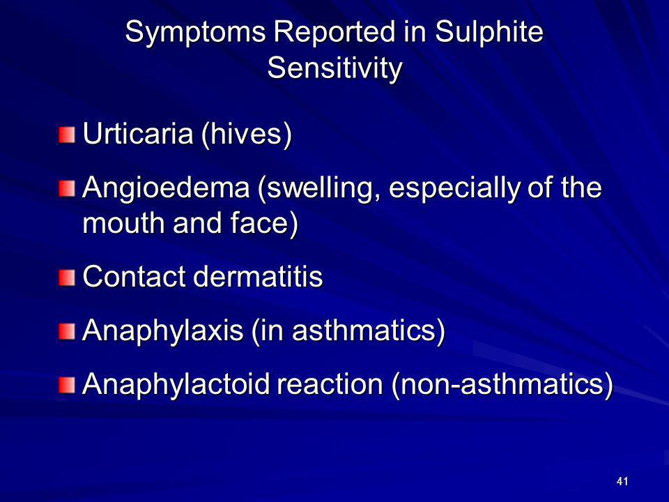 Symptoms Reported in Sulphite Sensitivity