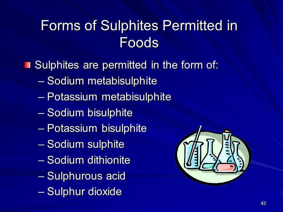 Forms of Sulphites Permitted in Foods