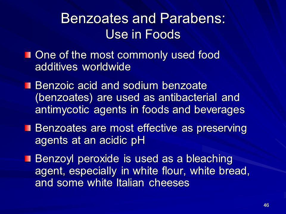 Benzoates and Parabens: Use in Foods