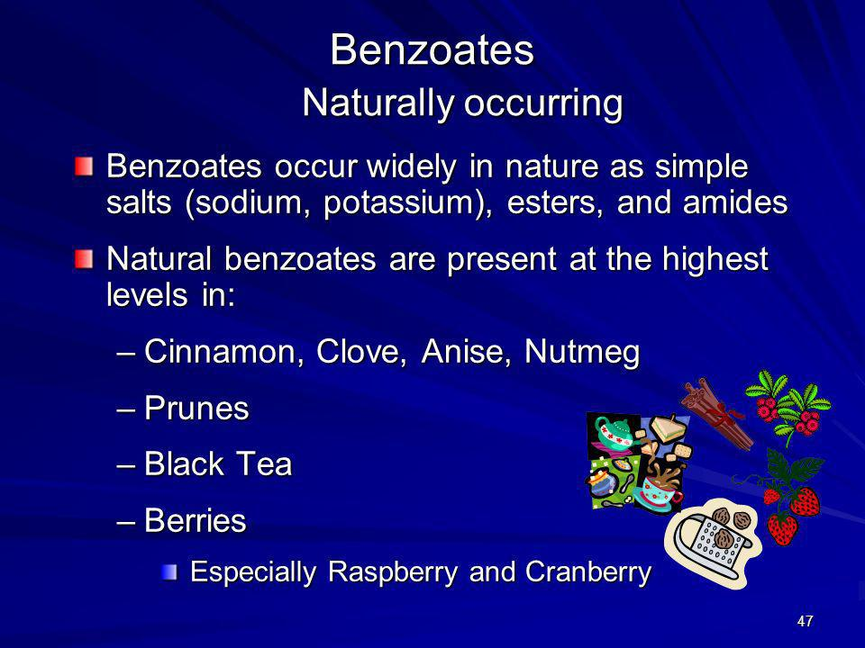 Benzoates Naturally occurring