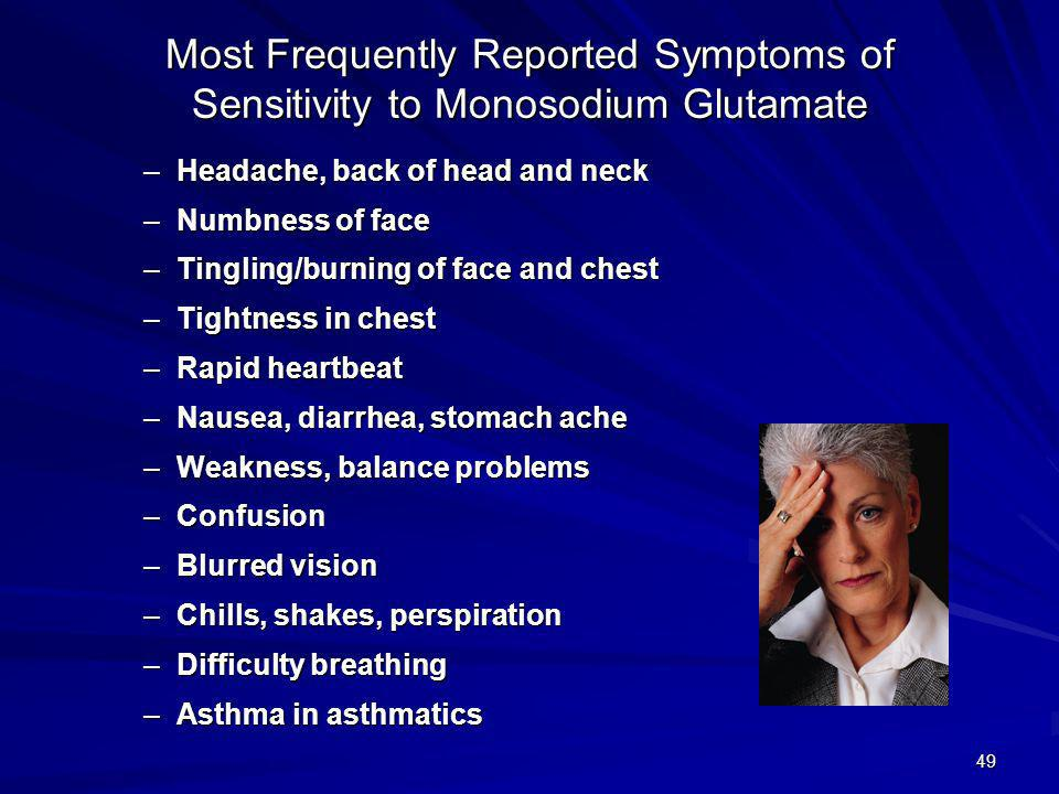 Most Frequently Reported Symptoms of Sensitivity to Monosodium Glutamate