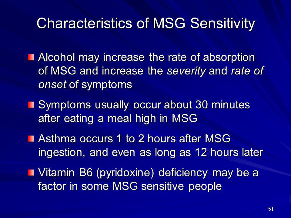 Characteristics of MSG Sensitivity