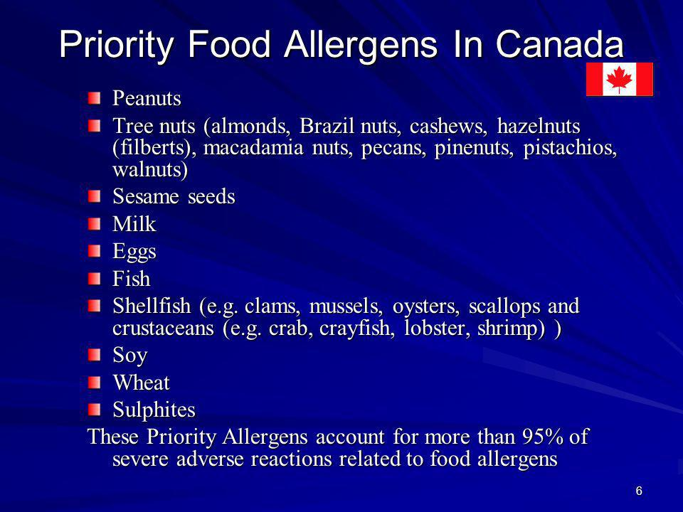 Priority Food Allergens In Canada