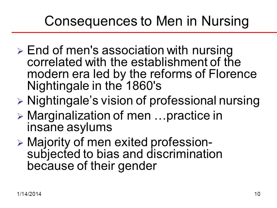 Consequences to Men in Nursing
