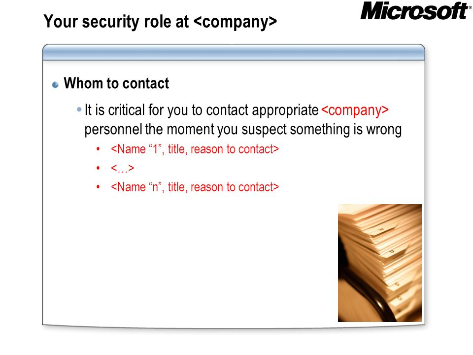 Your security role at <company>