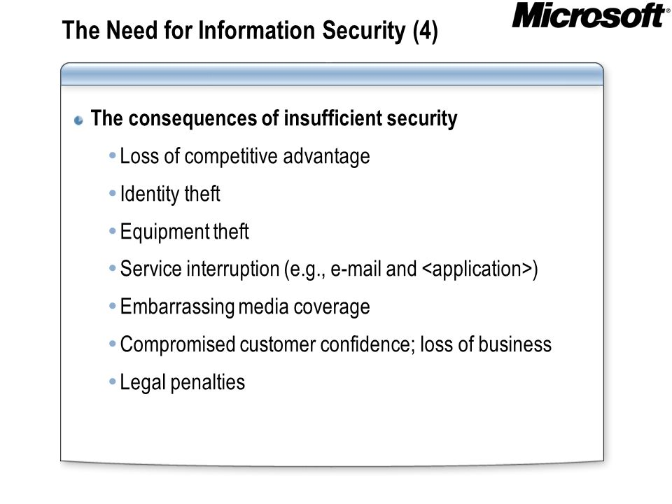 The Need for Information Security (4)